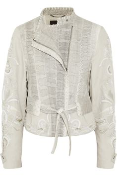 Roberto Cavalli Watersnake and embroidered linen-blend jacket
