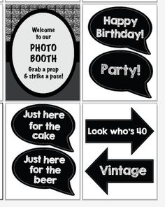 40th birthday photo booth props PRINTABLE by redmorningstudios