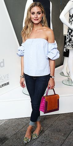 Last Night's Look: Love It or Leave It? Vote Now! | OLIVIA PALERMO | in an off-the-shoulder top, cuffed blue jeans, two-tone purse and floral print flats at the StyleWatch x Revolve fall fashion party in N.Y.C.