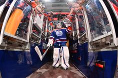 EDMONTON, AB - FEBRUARY 16: Cam Talbot #33 of the Edmonton Oilers walks to the ice prior to the game against the Philadelphia Flyers on February 16, 2017 at Rogers Place in Edmonton, Alberta, Canada. (Photo by Andy Devlin/NHLI via Getty Images)