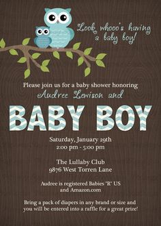 owl baby shower invitations with chevrons by freshlysqueezedcards, $13.00