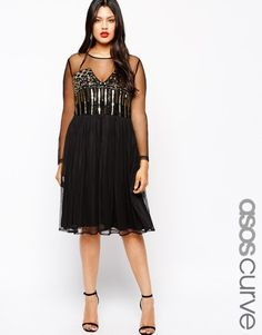 Find the best selection of ASOS CURVE Skater Dress With Baroque Beading. Shop today with free delivery and returns (Ts&Cs apply) with ASOS! Asos Curve, Evening Dresses Plus Size, Plus Size Dresses, Curvy Girl Fashion, Plus Size Fashion, Pretty Outfits, Beautiful Outfits, Beautiful Clothes, Pretty Dresses