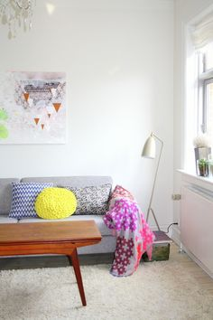 white space (white interior) accented by bright accents
