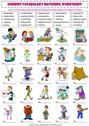 hobbies and interests vocabulary matching exercise worksheet icon