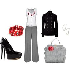 Office outfit with red accents, created by angelinarempel on Polyvore