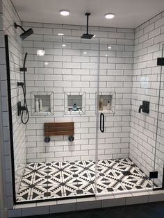 modern farmhouse bathroom style decorating ideas on a budget 59 Bathroom Renovations, Home Renovation, Home Remodeling, Bathroom Shower Remodel, Bathroom Shower Designs, Master Bath Remodel, Rain Shower Bathroom, Shower Window, Shower Seat