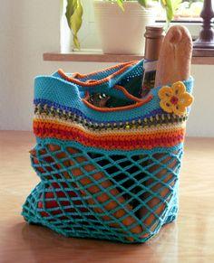 """Einkaufstaschen - Buntes Einkaufsnetz """"Sommer, Sonne und mehr"""" - ein Designerstück"""