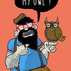DEAL WITH MY OWL @redbubble   #skate #owl #bear #beared