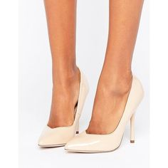 Paper Dolls Pointed Nude Stiletto Court Shoe ($36) ❤ liked on Polyvore featuring shoes, pumps, beige, pointed toe stilettos, pointy-toe pumps, nude pumps, high heel shoes and pointed toe high heel pumps