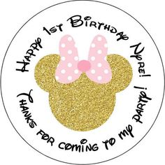 Items similar to 24 printed Minnie Mouse Birthday Party Stickers inch Round Personalized kids Baby Shower on Etsy Kid Party Favors, Candy Party, Party Favor Bags, Minnie Mouse 1st Birthday, Minnie Mouse Party, Mickey Mouse, 1st Birthdays, 1st Birthday Parties, Birthday Celebrations