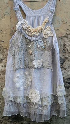 RESERVED for JOANNE-- Romantic light cotton layered lace tunic in shades of smoky white, palest gray, cream and ivory is reworked with lovely Gypsy Style, Hippie Style, Bohemian Style, My Style, Altered Couture, Antique Lace, Vintage Lace, Upcycled Vintage, Boho Outfits
