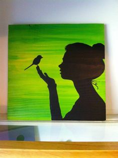 "Items similar to Original ""Precious Moments"" acrylic painting of a Girl Holding Bird Silhouette with a serene green background. on Etsy A personal favorite from my Etsy shop Simple Canvas Paintings, Oil Pastel Paintings, Oil Pastel Drawings, Oil Pastel Art, Small Canvas Art, Indian Art Paintings, Cool Art Drawings, Diy Canvas Art, Vogel Silhouette"