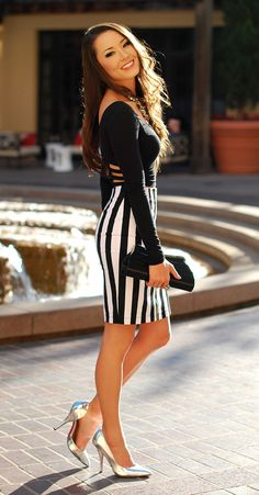 Outfits with Pencil Ways to Wear Pencil Skirts - - Outfit Trends Hapa Time, Pencil Skirt Outfits, Pencil Skirts, Outfit Trends, Outfit Ideas, Black White Fashion, Stripes Fashion, White Outfits, Mode Outfits