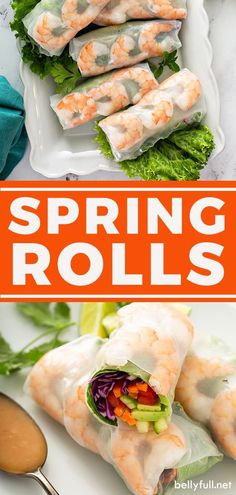 Fresh Spring Rolls with crisp vegetables, herbs, and plump shrimp are combined for a flavor-packed roll with bright, refreshing flavors. Easy Healthy Recipes, Asian Recipes, Easy Meals, Simple Recipes, Summer Recipes, Delicious Recipes, Healthy Foods, Vegetarian Recipes, Snack Recipes