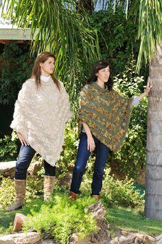 poncho tejido a dos agujas combinado con lana con pelo, creado por Silvana gloria tejidos