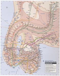26 best Subway Map images on Pinterest   Subway map  Cartography and      via NYC Penis Subway Map at Street Anatomy  I live right between the dick  balls