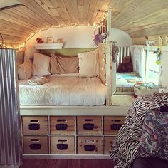 And seemingly with a wiggle of the nose and a click of the heel, #thewolfbus upgraded to a ✌️ bedroom!  #Skoolie #busconversion #babyonboard #tinyhome #schoolbus
