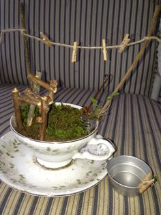 Fairy Garden in a Tea Cup project Grammy's house...... a quaint Victorian cottage
