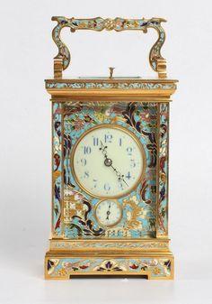 A fine French gilt cloisonné enamel carriage clock, circa 1890