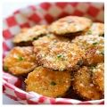 Zucchini parmesan crisps,Prep Time:15 mins,Cooking Time:10 mins,Serves:4,Directions:Heat vegetable oil in a large skillet over medium high heat. In a large bowl, combine Panko and Parmesan; set aside.  Working one at a time, dredge zucchini round in flour, dip into eggs, then dredge in Panko mixture, pressing to coat.  Working in batches, add zucchini rounds to the skillet, 5 or 6 at a time, and cook until evenly golden and crispy, about 1 minute on each side. Transfer to a paper ...