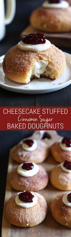 Cheesecake Stuffed Baked Doughnuts