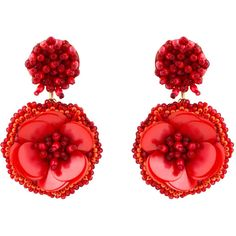 Mignonne Gavigan Marnie Red Flower Clip Earrings ($195) ❤ liked on Polyvore featuring jewelry, earrings, red, clip earrings, drop earrings, leather earrings, red drop earrings and beaded jewelry