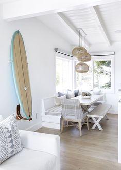 Coastal Wall Decor with Surfboard via Pure Salt Interiors Beach House Tour, Beach House Decor, Home Decor, Beach Houses, Beach Apartment Decor, Modern Beach Decor, Beach Wall Decor, Beach Condo, Kitchen Ikea