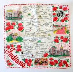 Vintage #Indiana #Handkerchief, Hanky, Hankie