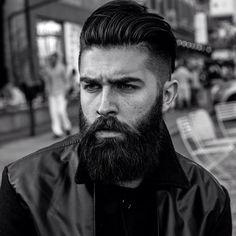 Chris John Millington - full thick black beard and mustache beards bearded man men mens' style barber hair cut hairstyle bearding handsome #beardsforever