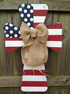 Custom Flag Wooden Cross Door Hanger by SweetSophieJacks on Etsy, $35.00