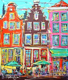 Nu in de #Catawiki veilingen: Mathias - Street of Amsterdam, cafe day