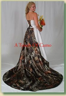 Okay, listen. Girls come in to the shop all the time asking for dresses with camo accents. PLEASE, stop wearing Mossy Oak on your wedding and prom dresses. It is not okay.