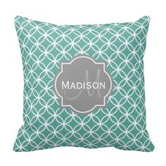 "Need pillows that can perfectly match your couch?  Then Monogrammed Light Teal Circle Pattern Throw Pillows from zazzle  will make your  neighbours to envy you! Sizes available: 16""x16""  20""x20"" 13""x21"" materials: polyester, cotton what i love most about this custom throw pillow  cool colour, soft and supple it is wrinkle free has a hidden zipper enclosure and you can machine wash. To customize the throw pillow click on the image now. #pillow #zazzle #couch"