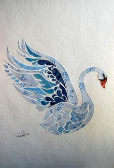 Jenny : Paper collage, white background makes it stand out like the swan ready for flying blue colour make us imagine the swan on the lake. Nature Collage, Collage Art, Art Nature, Nature Crafts, Paper Mosaic, Mosaic Art, Kirigami, Art Design, Art Plastique