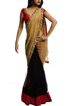 Black & Beige Saree with Embroidery