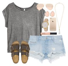 """""""Casual"""" by lauren-hailey ❤ liked on Polyvore featuring H&M, Zara, Birkenstock, Eddie Borgo, NARS Cosmetics, Kate Spade, Ray-Ban and Kendra Scott"""