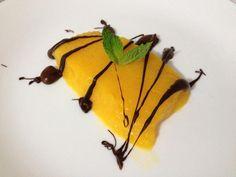 Gelatina de mango al curry con chocolate