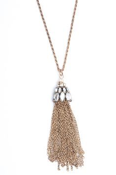 Crystal Tassle Necklace |Jewelry| long bronze necklace features clear crystals and long delicate fringe. // www.bohme.com //