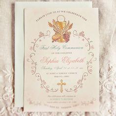 Elegant First Communion Invitation - Religious First Holy Communion Invitations