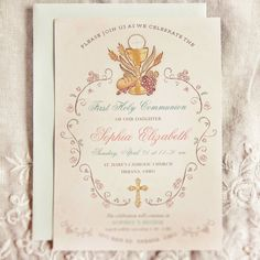 Elegant First Communion Invitation - Religious First Holy Communion Invitations