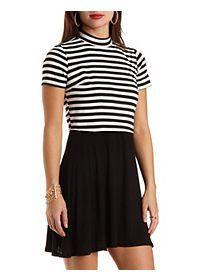 Striped Mock Neck Layered Illusion Dress