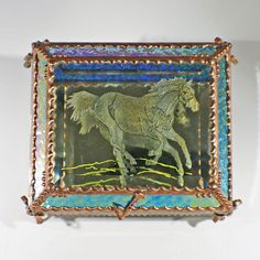 Etched Hand Painted Running Horse w/horseshoe nails