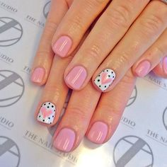 Don't worry if you are a beginner and have no idea about the nail designs. These pink nail art designs for beginners will help you get ready for your date Fancy Nails, Love Nails, Trendy Nails, My Nails, Color Nails, Cute Pink Nails, Heart Nail Art, Heart Nails, Heart Nail Designs