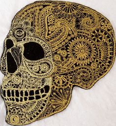 """Amazon.com: [Single Count] Custom and Unique (9"""" x 7"""" Inch) """"Spooky"""" Large Ornate Mandala Pattern Mexican Sugar Skull Iron On Embroidered Applique Patch {Black & Yellow Colors}"""