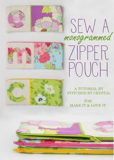 DIY: sew a Monogrammed Zipper Pouch | via Make It and Love It