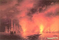 Battle near Sinop Artwork by Ivan Constantinovich Aivazovsky Hand-painted and Art Prints on canvas for sale,you can custom the size and frame