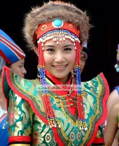 ancient mongolian hats | Chinese Traditional Mongolian Clothing and Hat Complete Set