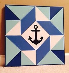 Wooden Barn Quilt 24 inch Patchwork - Nautical Anchor Blue