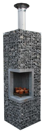 Ganion bbq, Perfect for cool nights in the backyard. Could probably be made with materials on hand. Outdoor Rooms, Outdoor Gardens, Outdoor Living, Outdoor Oven, Outdoor Fire, Outdoor Projects, Garden Projects, Gabion Wall, Garden Design