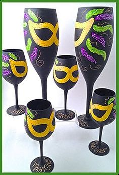 """""""Mardi Gras"""" Glass Collection by Lelsie- Choose your Glass Style Below! (Hula Island)"""